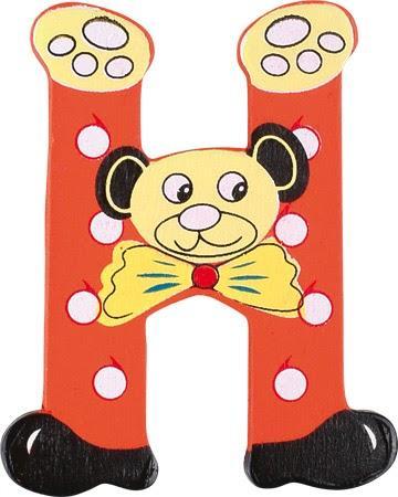 Lettre H en bois rouge motif petit ourson 6cm