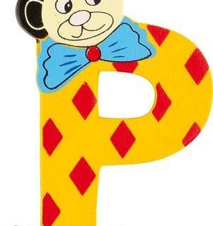 Lettre P en bois jaune motif petit ourson 6cm
