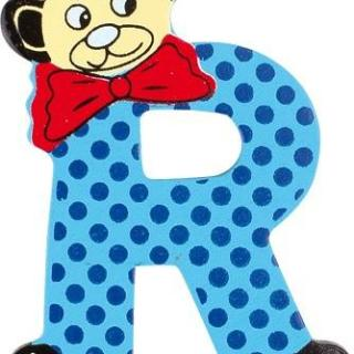 Lettre R en bois bleu motif petit ourson 6cm