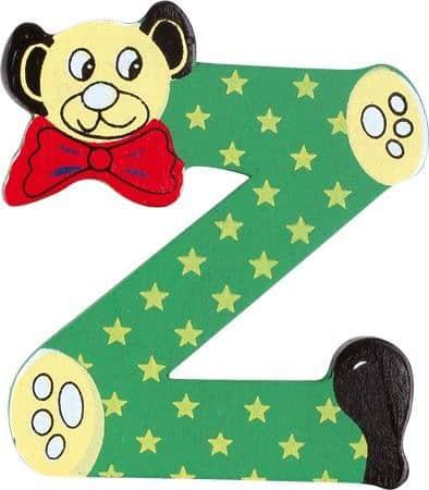 Lettre Z en bois verte motif petit ourson 6cm