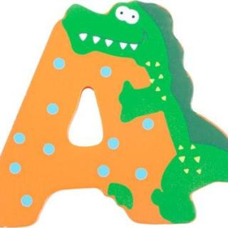 Lettre A rectangulaire en bois miel motif grand alligator