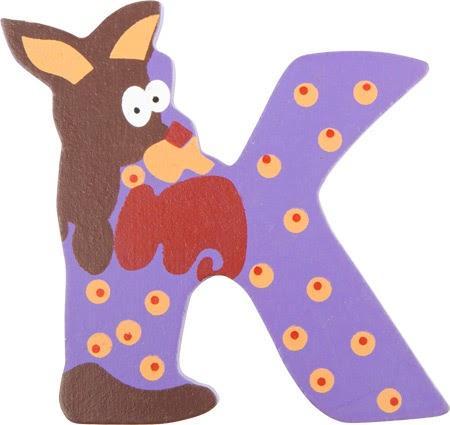 Lettre K en bois rose motif grand kangourou 7cm