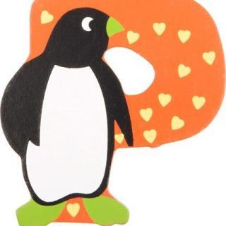 Lettre P en bois miel motif grand pingouin 7cm