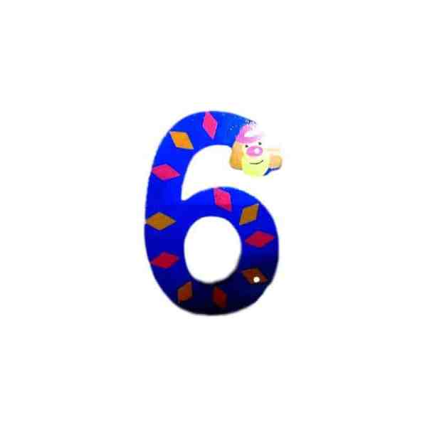 Chiffre 6 en bois bleu grand clown 7cm