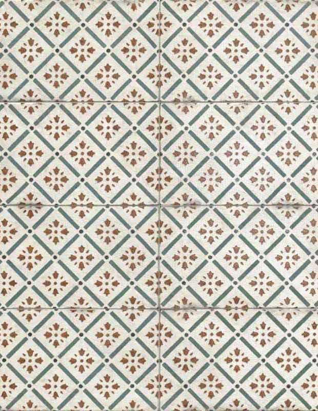 carrelage mural retro decor geometrique vert et rouge 15x30cm ri0112002