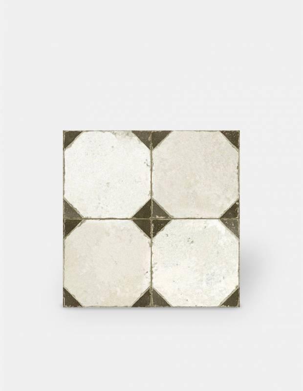 carrelage ancien blanc et noir aspect octogonal 45 x 45 cm