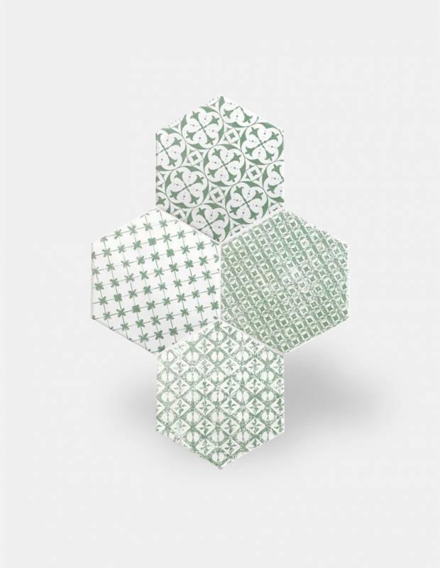 carrelage hexagonal mat vert 15 x 15 cm he0811014