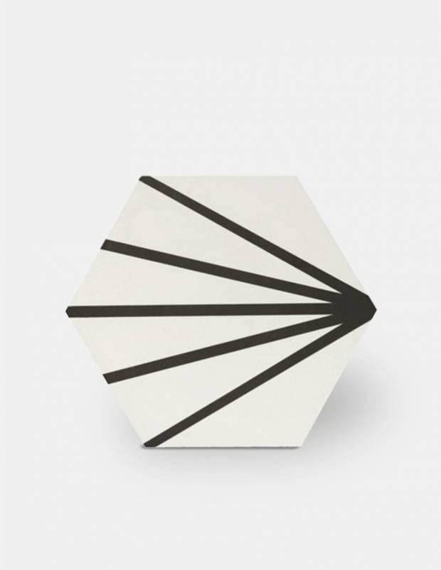 carrelage hexagonal design vintage mat a motif noir me9507014
