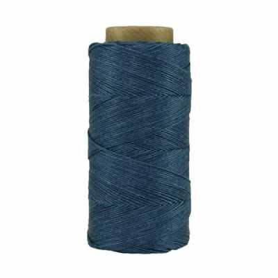 Fil de lin ciré - Bleu de cobalt - Bobine 100% lin - Micro-macramé, bijoux, couture, reliure, maroquinerie