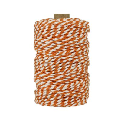 Ficelle Baker Twine - 3mm - Bobine - Orange/blanc