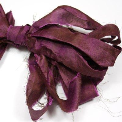 Ruban de soie de sari aubergine pour couture, bijoux, artisanat, art textile