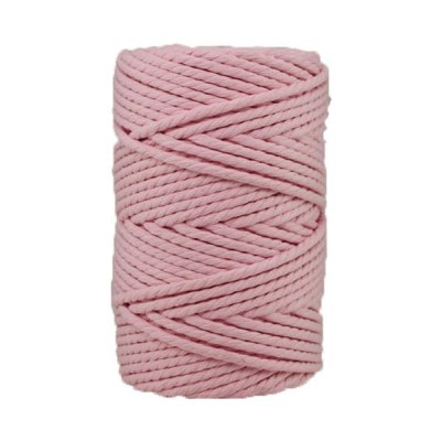 Corde macramé artisanale - Cordon - Ficelle - Fil de coton torsadé 4 mm - Rose Poudré