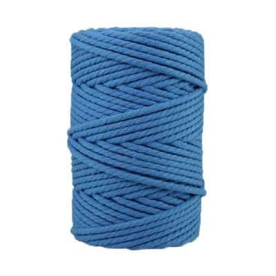 Corde macramé artisanale - Cordon - Ficelle - Fil de coton torsadé 4 mm - Bleu azur