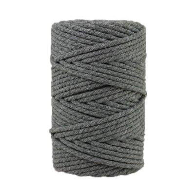 Corde macramé artisanale - Cordon - Ficelle - Fil de coton torsadé 4 mm - Gris