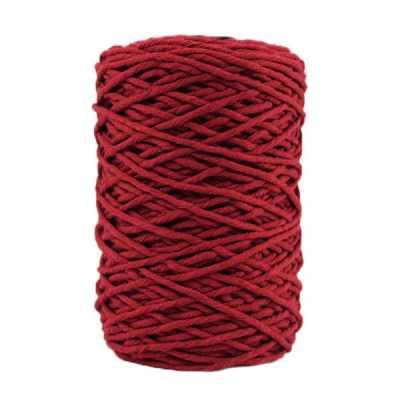 Coton bitord, barbante, fil de coton recyclé, 3 mm, bordeaux