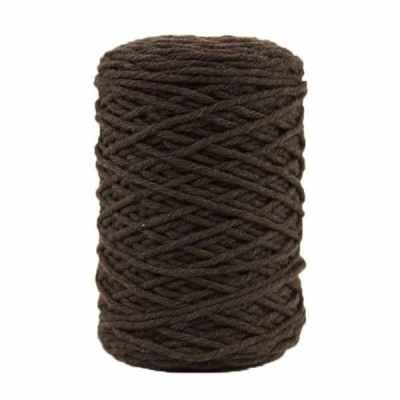Coton bitord, barbante, fil de coton recyclé, 3 mm, marron, brou de noix