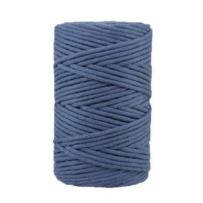 Cordon - corde - coton peigné- fil de 4mm - Bleu jean - macramé - crochet - tricot - tissage
