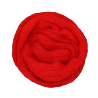 Laine cardée ruban - Rouge coquelicot