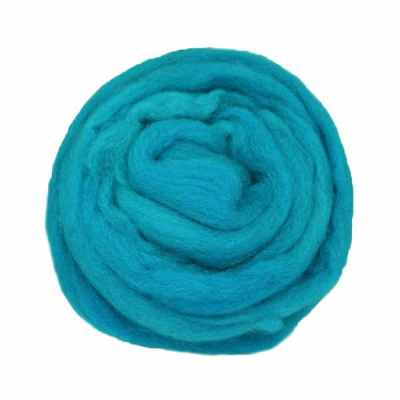 Laine cardée ruban - Bleu cyan