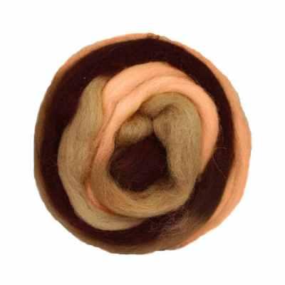 Laine cardée ruban - Marron beige orangé