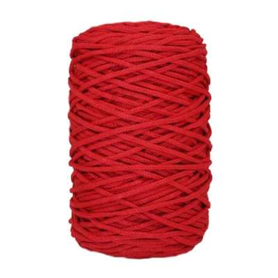 Cordon coton tressé - 3 mm - Rouge coquelicot