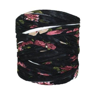 Trapilho-bobine-imprimé-fleuri-noir