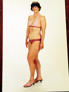 Laurie at age 45 in a bikini after doing twenty-four weeks of weight training program, Body for Life, at age 45.