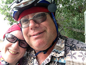 Laurie and Mark in bike gear