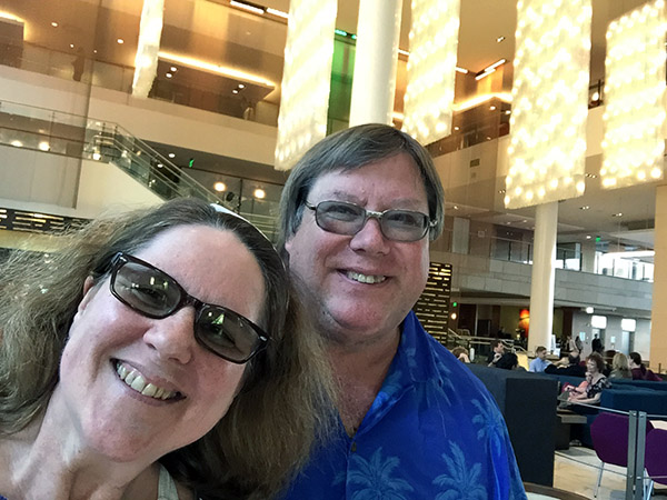 Mark and Laurie in the lobby of the JW Marriott hotel