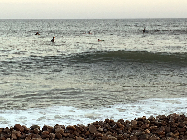 Surfers in the sea.