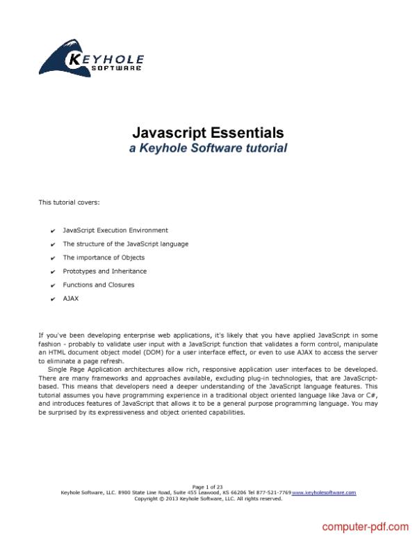 [PDF] Javascript Essentials free tutorial for Beginners