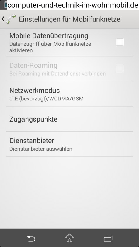 Internet-Roming im ANDROID-Menü