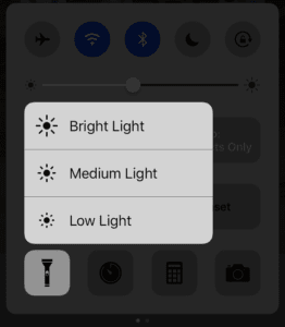 iOS 10 Force Touch Flashlight options