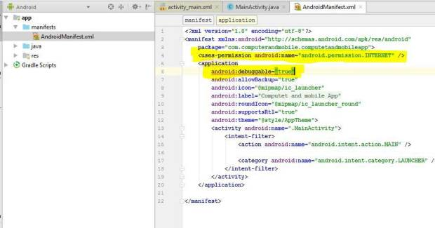 internet permission in android manifest