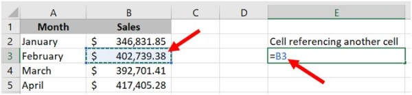 Reference cell in the same worksheet in Microsoft Excel