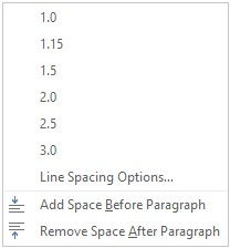 Line and Paragraph Spacing options in Word 2016