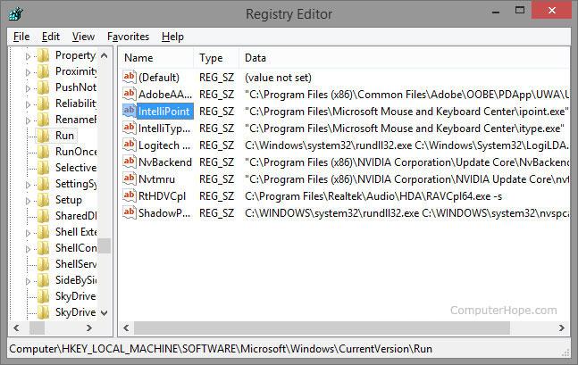 Écran d'édition du registre Windows