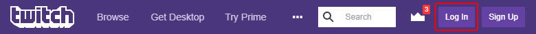 The twitch bar with the Log In button.