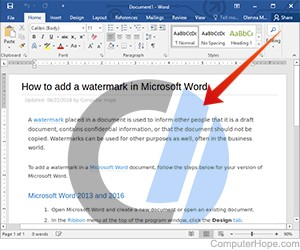 Illustration: Adding a watermark to a Microsoft Word document.