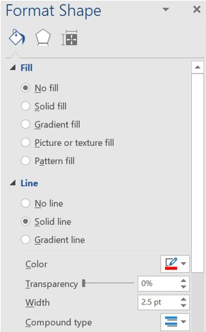 Format Shape section in Microsoft Word and Excel
