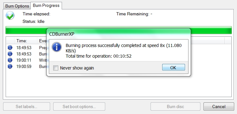 Scriere DVD efectuată în 11 minute