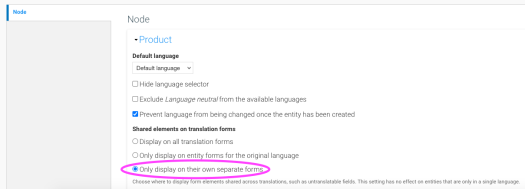 Entity translation settings showing Shared elements configured to show on their own forms