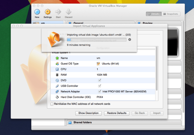 importing vm from ovf