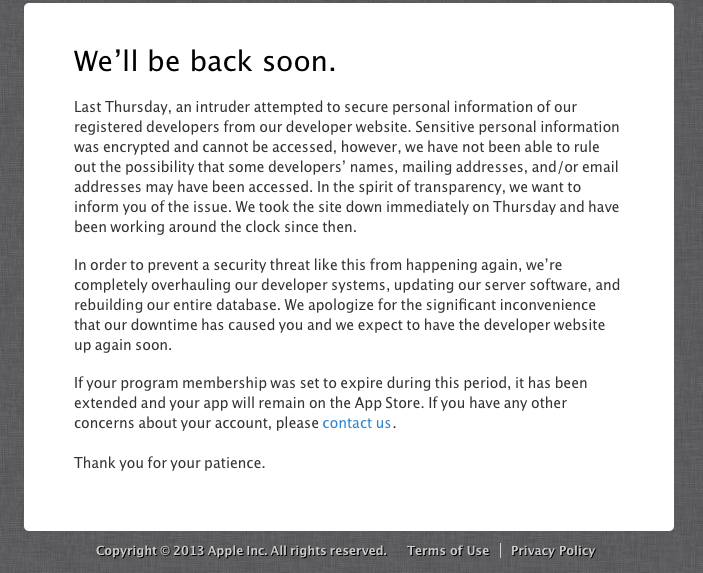 apple developers site hacked