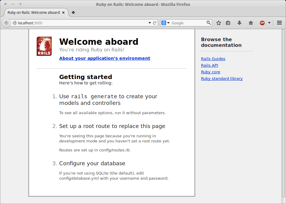 rails default page Linux mint