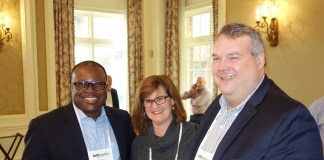 From left, Rite Aid's Jermaine Smith, CarePoint's Sarah Salton, and Tabula Rasa HealthCare's Tom Wilson