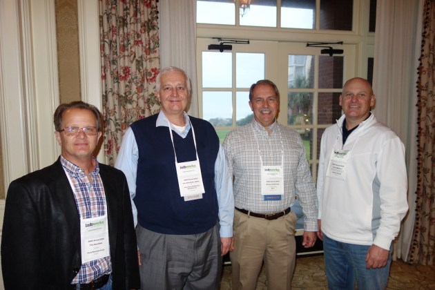 From left, Doral Services Group's Tim Garofalo, speaker Don Dietz from Pharmacy Healthcare Solutions, Inc., QS/1's Sonny Anderson, and Jerry Reeves from Wolters Kluwer. Dietz presented on next generation pharmacy data metrics.