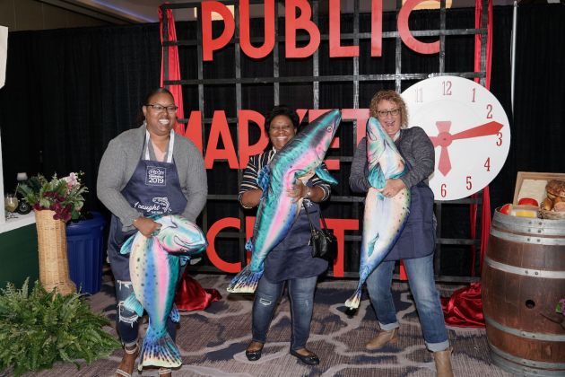"During the welcome reception, attendees participated in a Pacific Northwest-themed ""Fish Toss."""