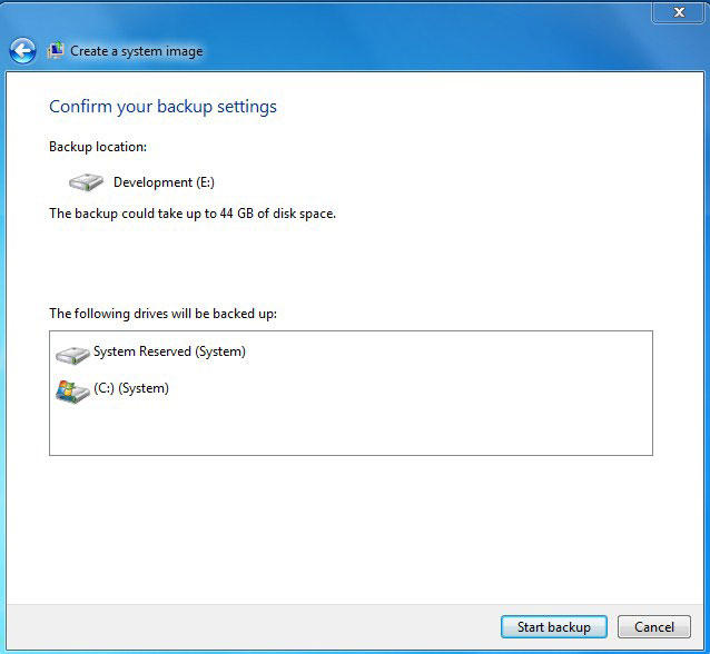 Start windows 7 backup