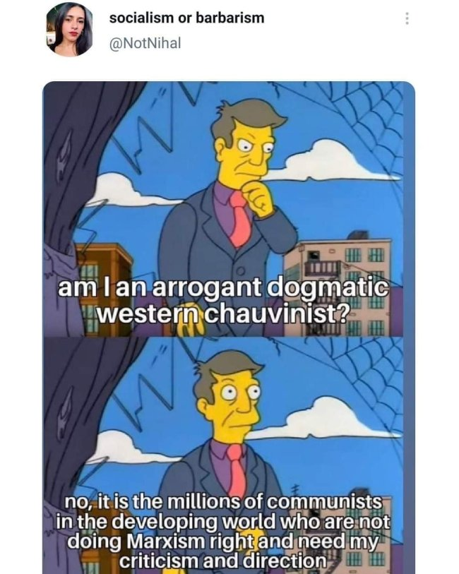 Principal Skinner 2 panel memePanel 1: am I an arrogant dogmatic western chauvinist?Panel 2: no, it is the millions of communists ineht  developing countries who are not doing Marxism right and need my criticism and direction